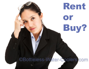 Businesswoman scratching head: rent or buy?